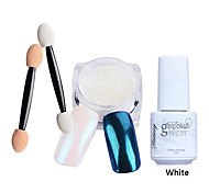 3pcs/set Shinning Mirror Nail Glitter Powder White UV Gel Nail Art Chrome Pigment Kit with Brush