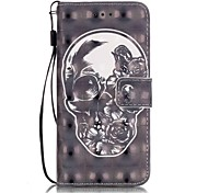 Skull Pattern Perspective Shiny Glare Material PU Leather Card Holder for  iPhone 7 7 Plus 6s 6 Plus SE 5s 5