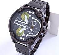 Men's Military Dual Time Big Dial Stainless Steel Calendar Quartz Watch Clock Wrist Watch Cool Watch Unique Watch