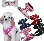 Dog Harness Adjustable/Retractable Stars Black / Green / Blue / Pink Fabric