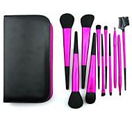 11 Makeup Brushes Set Goat Hair Professional / Portable Metal Handle Face/Eye / Lip Rose Red