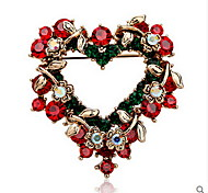 Christmas Women Red Heart-Shaped Brooches