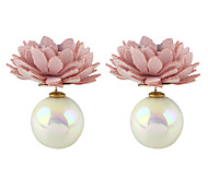 Imitation Pearl Flower Stud Earrings