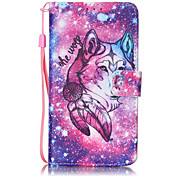 A Lone Wolf Pattern PU Leather Lanyard phone Case for LG K7 LG LS775 STYLUS2