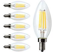 4W E14 LED лампы накаливания C35 4 COB 400 lm Тёплый белый Регулируемая / Декоративная AC 220-240 V 6 шт.