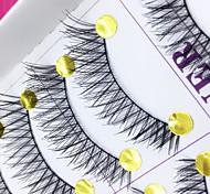 Eyelashes Full Strip Lashes Crisscross / The End Is Longer Handmade Fiber Black Band 0.10mm 11mm