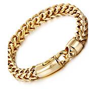 Муж. Браслеты-цепочки и звенья Мода бижутерия Нержавеющая сталь Позолота 18K золото Геометрической формы Бижутерия Назначение Для