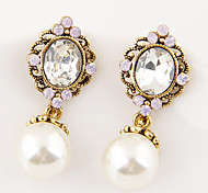 Women European Style Fashion Metal Shiny Glass Pearl Drop Earrings