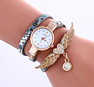 Women's Fashion Watch Rhinestone Casual PU Leather Band Bracelet Watch Women Wings Wrist watches Long Band Watch