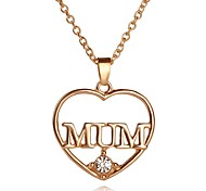 Necklace Love Mom Heart Pendant Necklaces Jewelry Party / Daily Unique Design