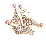 Hot Sale Shining Crystal Ship Brooch for Women