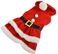 Dog Coat Red Dog Clothes Winter Solid Christmas / New Year's