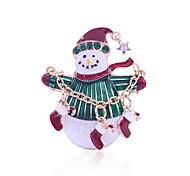 Weihnachtsfrauen weißer Schneemann Broschen