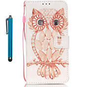 For Samsung Galaxy S7 edge S7  Case Cover with Stylus Shell Owl 3D Painting PU Phone Case S6 edge S6 S5 S4