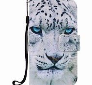 For Samsung Galaxy S7 edge S7 S6 edge S6 Case Cover White Leopard Painting PU Phone Case S5 S4 S3