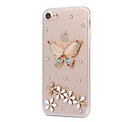 Für Hüllen Cover Strass Rückseitenabdeckung Hülle Schmetterling Hart PC für AppleiPhone 7 plus iPhone 7 iPhone 6s Plus iPhone 6 Plus