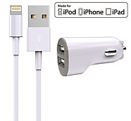 Kit de Carga Cargador de Coche Other 2 puertos USB con cable para el iPad / For iPhone(5V , 2.4A)