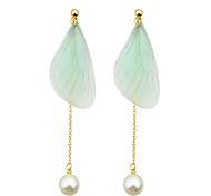 Latest Fashion Leaf Shape Imitation Pearl Long Earrings