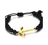Men's Strand Bracelet Jewelry Party/Birthday/Daily/Casual Fashion Alloy Gold Plated Black 1pc Gift