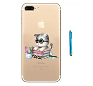 Wear Glasses Of the Cat Pattern Soft TPU Bumper Case for Apple iPhone 7 Plus 7 and Stylus