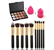 15 Concealer/Contour+Concealer+Others+Powder Puff/Beauty Blender / Makeup Brushes Wet FaceCoverage / Concealer / Uneven Skin Tone /