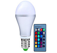5W AC85-265V E14 / GU10 / E26/E27 / B22 LED Smart Bulbs A60(A19) 1 Integrate LED 350 lm RGB Dimmable / Remote-Controlled / Decorative V 1 pcs
