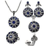Damen Schmuckset Schmuck Saphir Böhmen-Art individualisiert Luxus-Schmuck Europäisch Edelstein Halsketten Ohrringe Ringe Armband Für