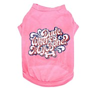 Candy Color Dog Shirt Letter Cotton Dog Clothes for Pets
