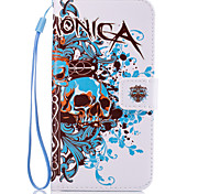 For Samsung Galaxy J710 J7 J510 J5 J310 J3  Skull Pattern PU Leather Full Body Case with Stand and Card Slot