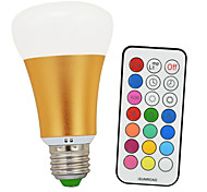 kwb 10W RGBW E26/E27 LED Globe Bulbs A60(A19) 1 COB 900lm-1200lm lm Cool White / RGB Infrared Sensor / Dimmable / Remote-Controlled (85-265V)