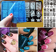 10шт рождественские темы ногтей штамп кружева поделки ногтей печать голубой пластины filmtemplate изображение родилась довольно гвоздь