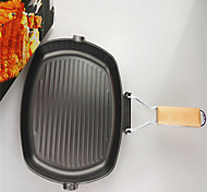 1PC Foldable Square Steak Frying Pan Non Stick Pan Pan Pan Black Cast Iron 24CM