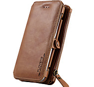 For Samsung Galaxy S7 Card Holder Wallet with Stand Case Full Body Case Solid Color Hard Genuine Leather S6 edge plus S6 edge S6
