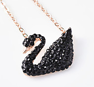 Women's Pendant Necklaces Animal Shape Swan Rose Gold Sterling Silver Dangling Style Jewelry For Daily Casual