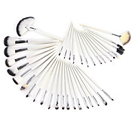 36Pcs White Wooden Pole Checks Pattern Leather Makeup Brush Sets