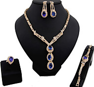 May Polly  Fashion zircon necklace earrings bracelet ring set for Europe and the United States