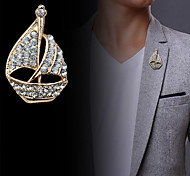 Fashion Diamond Sailing Boat  Brooch