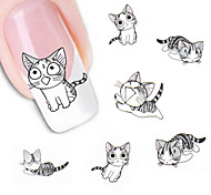 2Sheet Lovely Sweet Water Transfer 3D Grey Cute Cat Nail Art Sticker Full Wraps Manicure Decal DIY