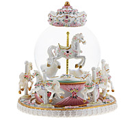 Music Box Carriage Classic & Timeless Leisure Hobby White Pink ABS