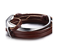 Men's Bracelets Wrap Bracelets Jewelry Adjustable Hallowas/Sport/Outdoor/Casual/Birthday/Daily Fashion Leather/Stainless Steel  Brown 1pc Gift