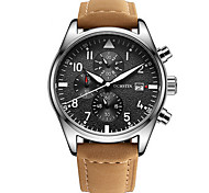 Men's Dress Watch Quartz Calendar / Chronograph / Water Resistant/Water Proof Genuine Leather Band Casual Black / Brown Brand