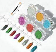 6шт / маникюрный набор зеркало порошок аврора зеркало гальванических порошок красочный лазерный серебряный цвет металла блеск для ногтей