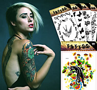 5 Tattoo Stickers Animal Series / Flower Series / Totem Series / Others / Cartoon Series / Romantic SeriesNon Toxic / Pattern / Large