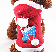 Dog Hoodie Red Blue Pink Dog Clothes Winter Spring/Fall Cartoon Christmas New Year's