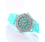 Women's European Style Fashion Shiny Rhinestone Silicone Casual  Watches