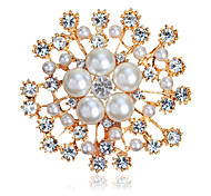 Women's Fashion Alloy/Rhinestone/Pearl Flower Brooches Pin Party/Daily/Wedding Luxury Jewelry Accessory 1pc