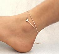 Frau Silberlegierung Herz Karabinerverschluss Fußkettchen