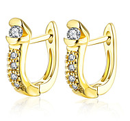 Hot New Design 18K Gold Plated Clip Earrings with Zircon Women Fashion Jewelry Beautiful street style Top quality AKE132