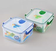grau alimentício quadrado lancheira de plástico reutilizável com divisor