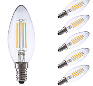 3.5 E14 Lampadine LED a incandescenza B 4 COB 350/400 lm Bianco caldo / Luce fredda Intensità regolabile AC 220-240 V 6 pezzi